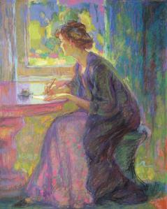 Mujer escribiendo, Jean Peskc